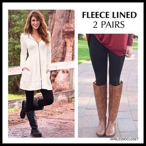 BEBE 2 FLEECE LINED LEGGINGS FOOTLESS TIGHTS A2C
